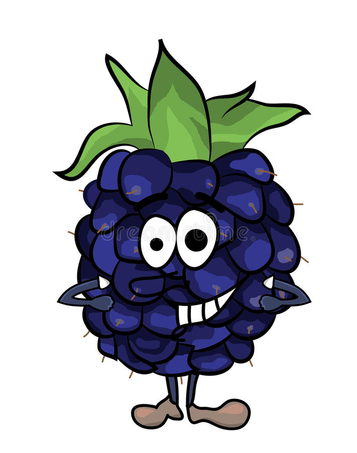 Blackberry-Fruchtkarikaturillustration vektor abbildung