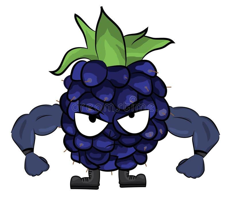 Blackberry-Fruchtkarikaturillustration lizenzfreie abbildung
