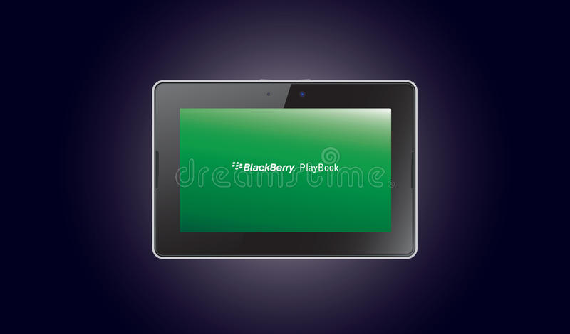 BlackBerry PlayBook computer tablet. Illustration of the new BlackBerry PlayBook - glossy balck and chromed portable tablet laptop computer isolated on a blue