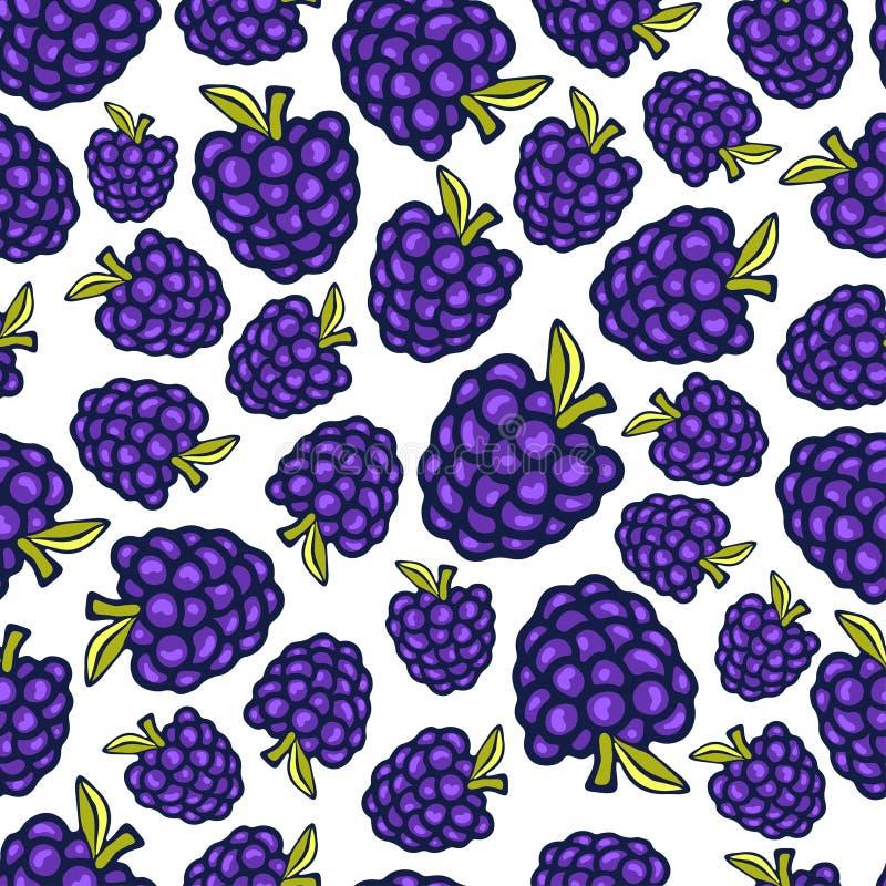 Blackberry sömlös modell Design för vektorklotterbär för tapeten, webbsidabakgrund, inpackning som förpackar, textil royaltyfri illustrationer