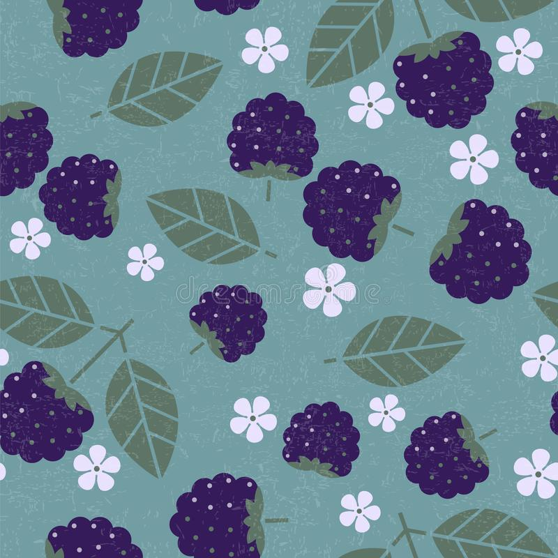 Blackberry seamless pattern. Blackberries with leaves and flowers on shabby background. Original simple flat illustration. Shabby style royalty free illustration