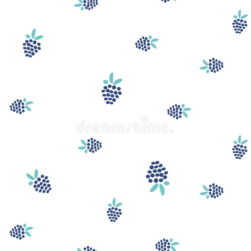 Blackberry seamless vector simple pattern on white background. Small blue berries floral fabric textile print background vector illustration