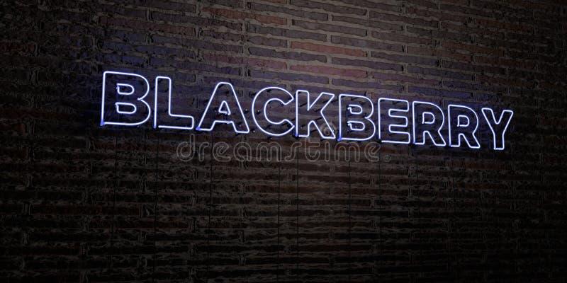 BLACKBERRY - sinal de néon realístico no fundo da parede de tijolo - 3D rendeu a imagem conservada em estoque livre dos direitos ilustração stock