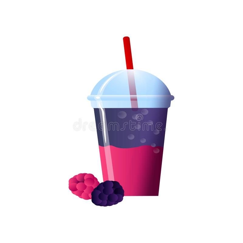 Blackberry smoothies in a cup. Superfoods and health or detox diet food concept in sketch style. Vector illustration of different food products on white royalty free illustration