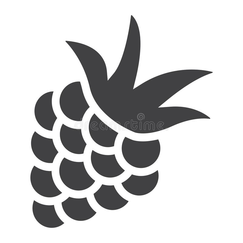 Blackberry solid icon, fruit and diet stock illustration