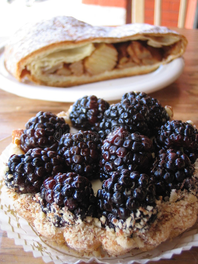 Blackberry Tart and Apple Streudel royalty free stock photos