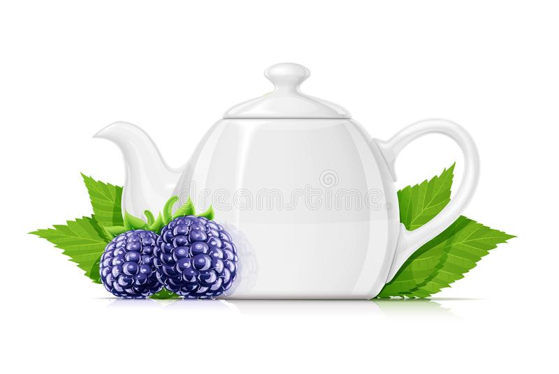 Blackberry-thee Verse organische kruidendrank Vector illustratie royalty-vrije stock foto