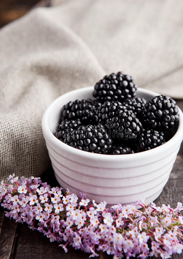 Blackberry in white bowl and flowers on wooden background stock photography