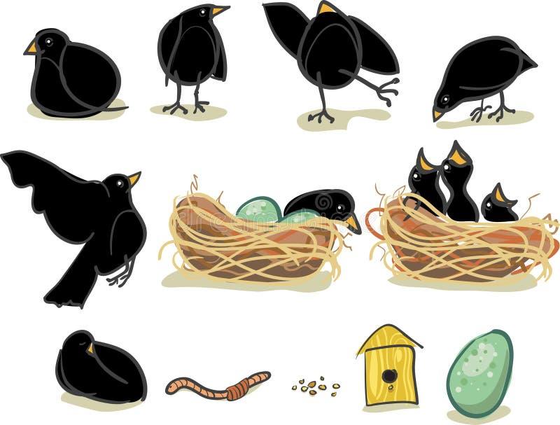 blackbirdgyckel vektor illustrationer