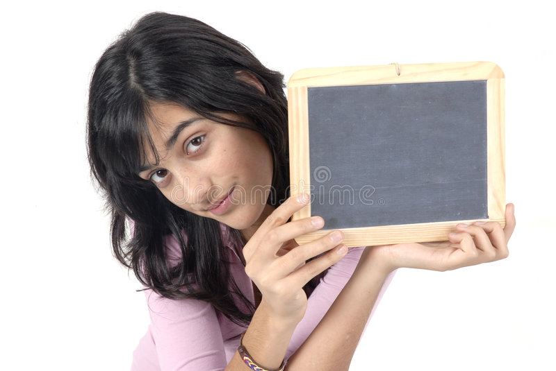Blackboard. Young girl with a blackboard in a white background stock image
