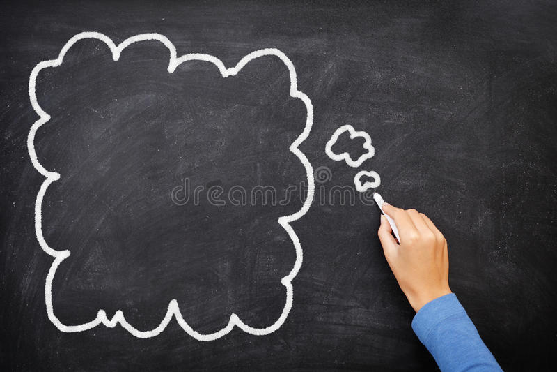 blackboard bąbla chalkboard myśl obrazy stock