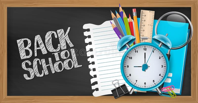 Blackboard background with wooden frames. Back to school concept with study supplies. Design for advertisement, magazine, website. 3d realistic vector stock illustration