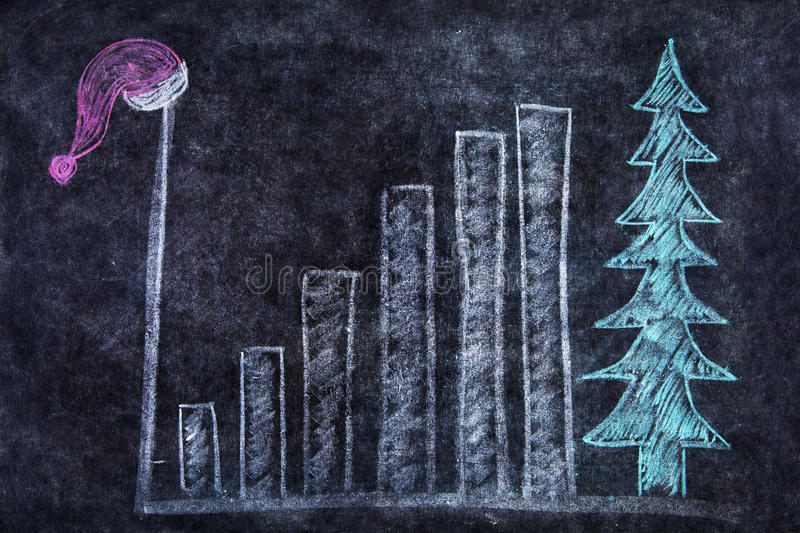 Blackboard with bar chart and santa hat. Chalk drawing of santa hat, bar chart and christmas tree on the blackboard vector illustration