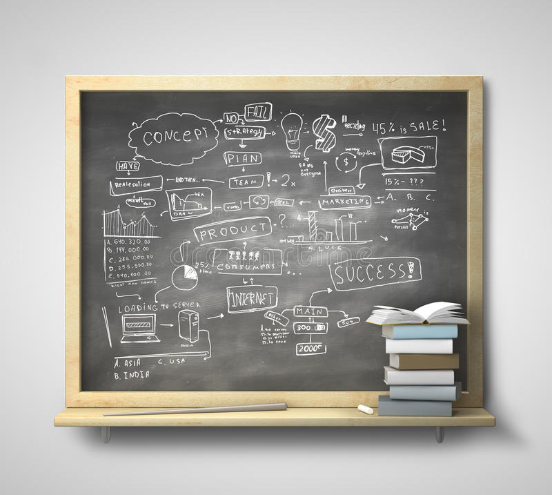 Blackboard with business concept. And book on a gray wall vector illustration