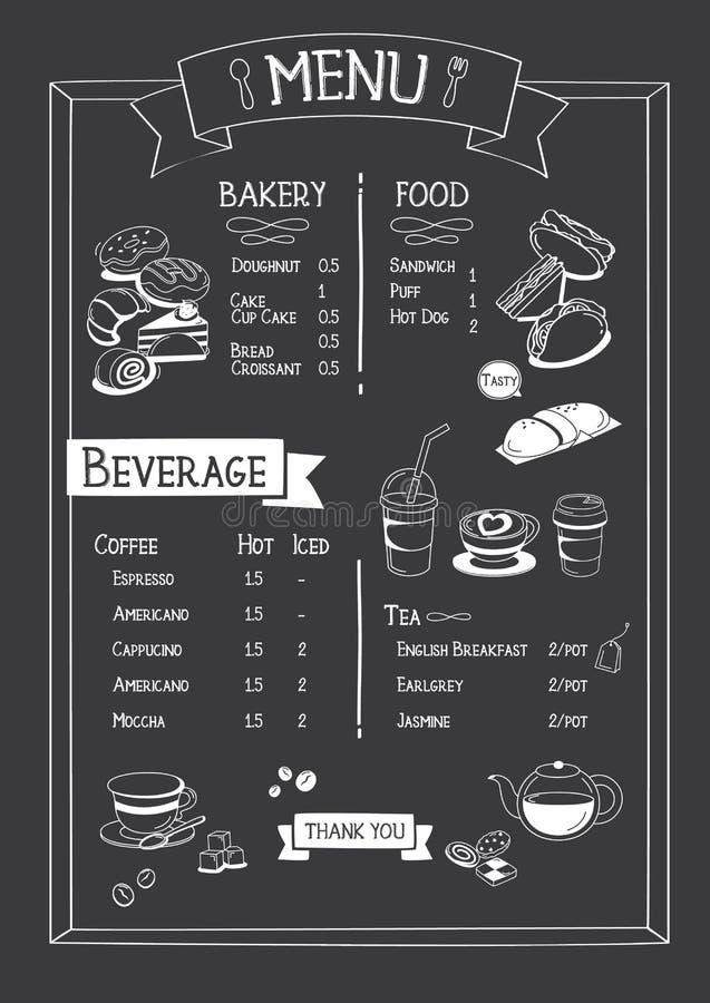 Blackboard Cafe menu with bakery, food and beverage. Menu in Doodle styles vector illustration