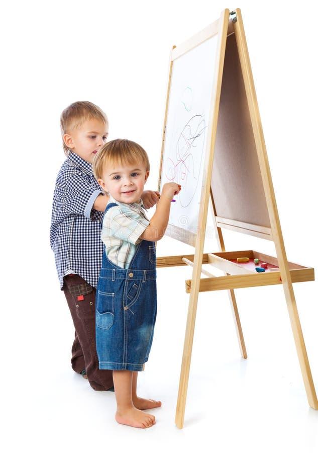 blackboard chłopiec target908_1_ zdjęcia stock