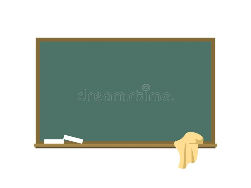 Blackboard with a chalk and a rag. Flat vector illustration of a blackboard isolated on a white background. Number board. With empty place for inscription stock illustration