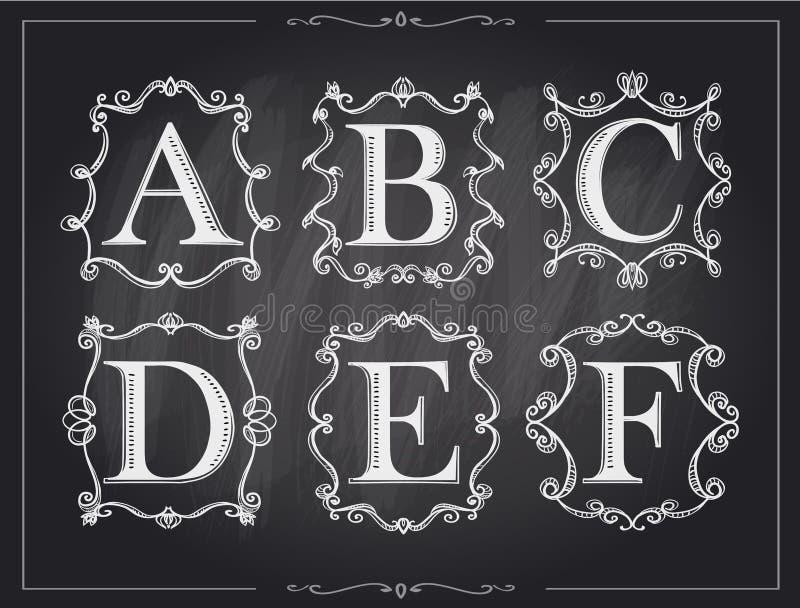 Blackboard chalk vintage calligraphic letters in monogram retro frames, alphabet logos vector illustration