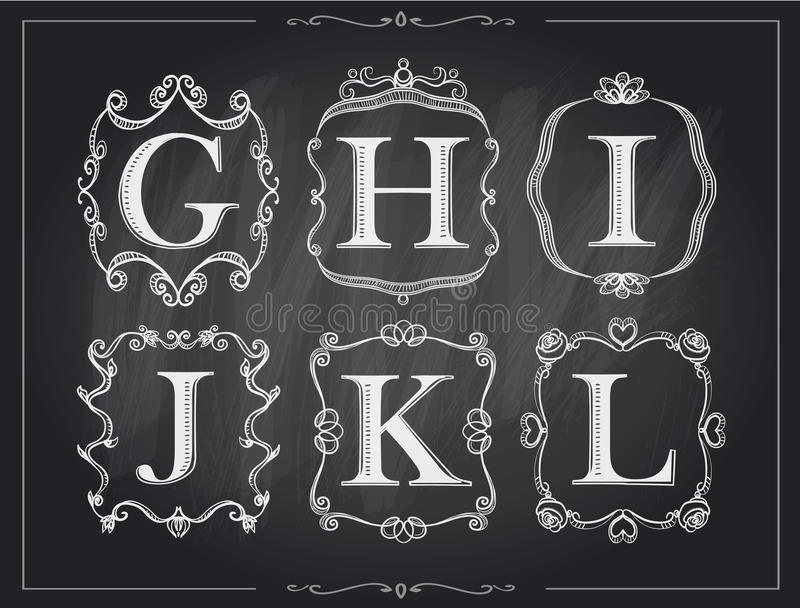 Blackboard chalk vintage calligraphic letters in monogram retro frames, alphabet logos vector illustration