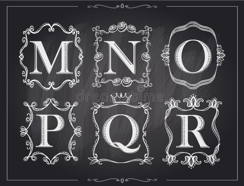 Blackboard chalk vintage calligraphic letters in monogram retro frames, alphabet logos stock illustration