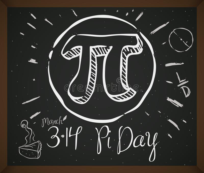 Doodle Drawing with Symbol, Pie and Date for Pi Day, Vector Illustration. Blackboard with doodles associated to celebrate Pi Day: pie cake, circle, ratio stock illustration