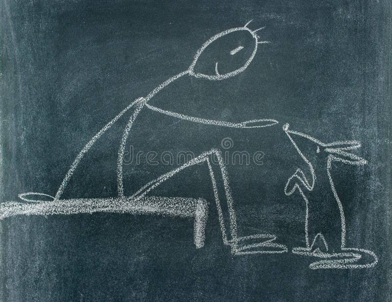 Download Blackboard drawing stock illustration. Illustration of friendship - 68586055