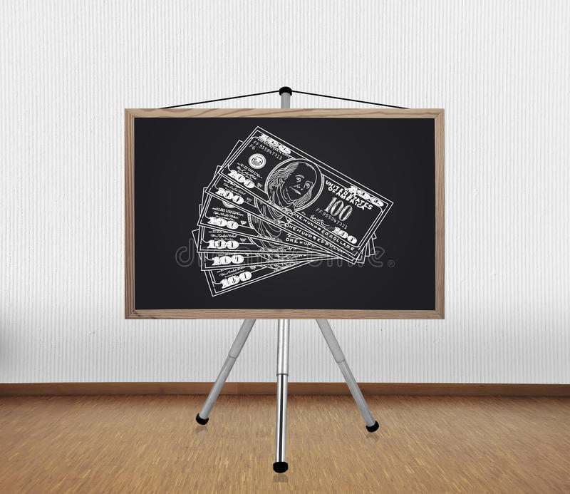 Download Blackboard With Drawing Dollars Stock Photo - Image: 33889300