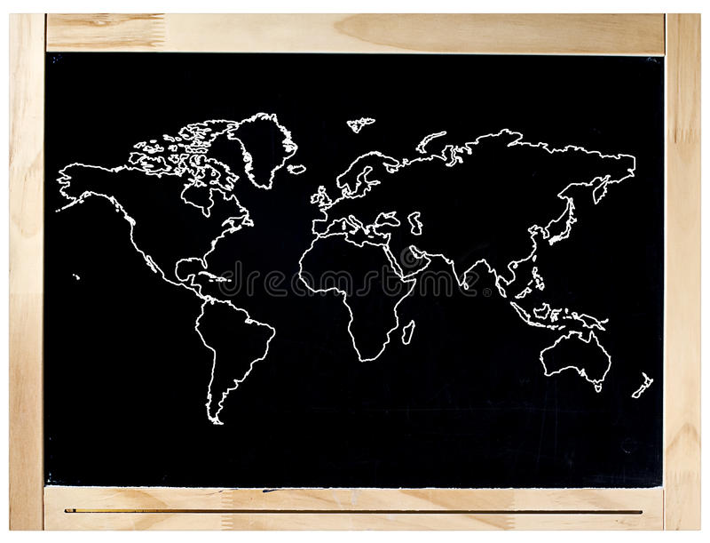 Blackboard Frame World Map Isolated royalty free stock images
