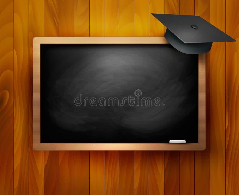 Blackboard with graduation cap. stock illustration