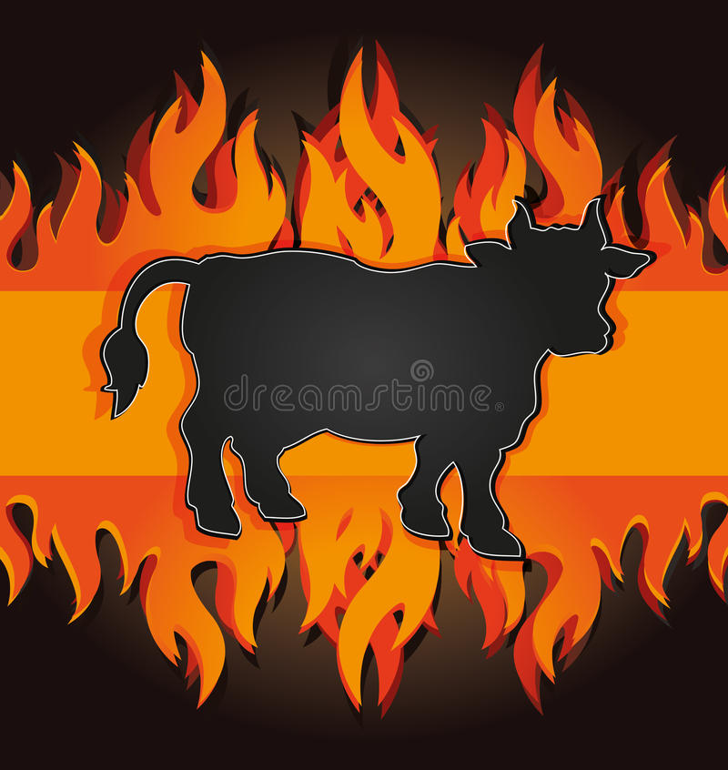 Download Blackboard Grill Menu Card Cow Bull Fire Board Stock Vector - Image: 25328481