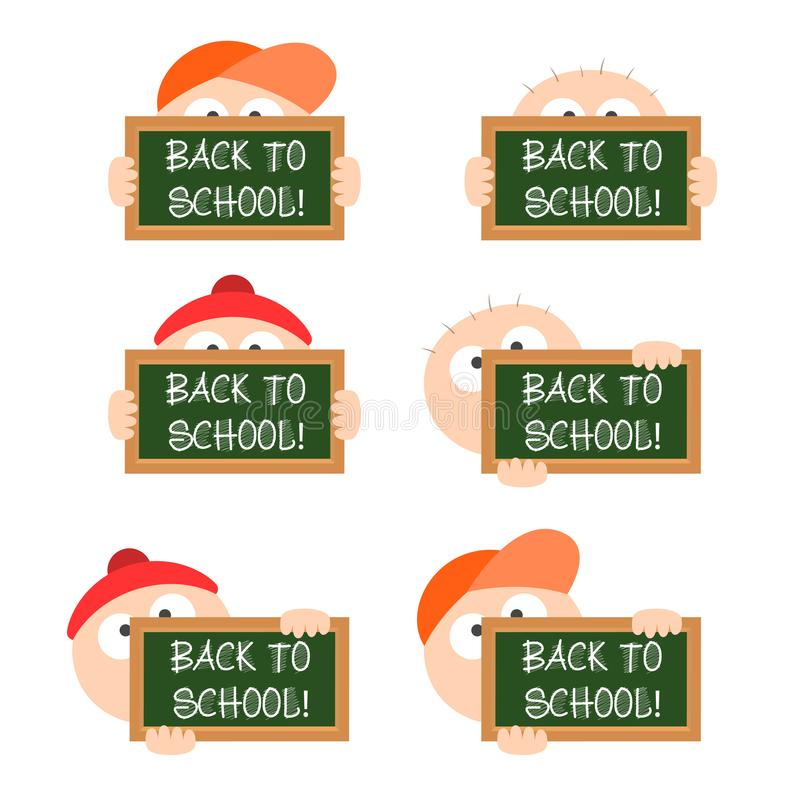 Blackboard in hand of child back to shool hat cap bald vector illustration