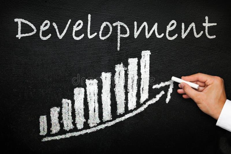 Blackboard with handwritten development text. Progress concept. royalty free stock photography