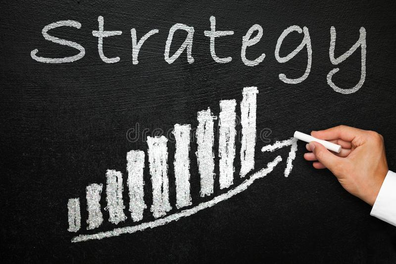 Blackboard with handwritten strategy text. Direction and success concept. royalty free stock image