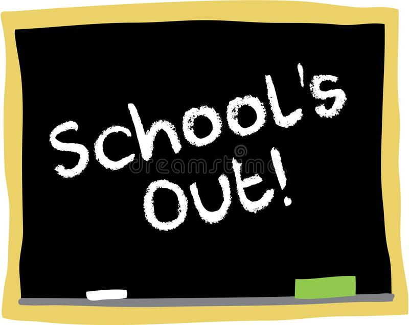 School`s Out!. Blackboard illustration with the words School`s out written in chalk stock illustration