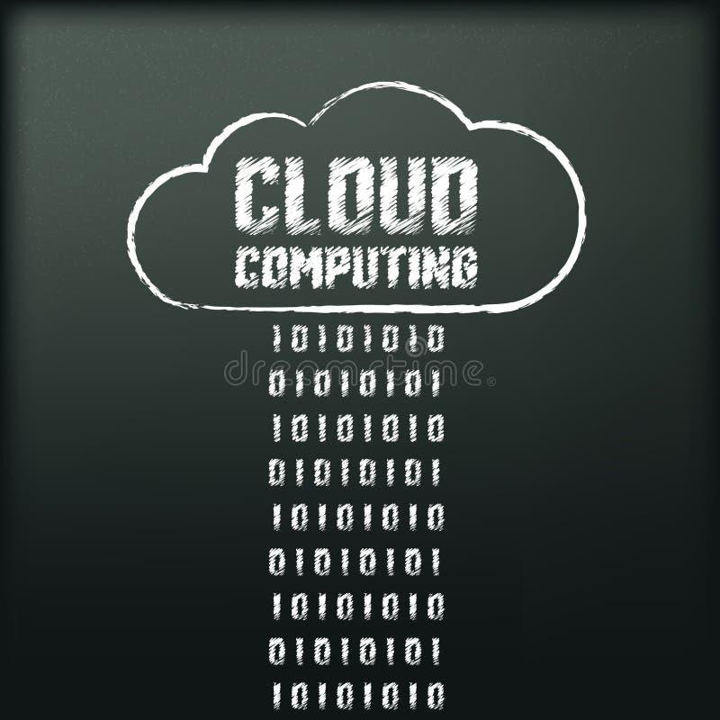 Blackboard with image of cloud computing vector illustration