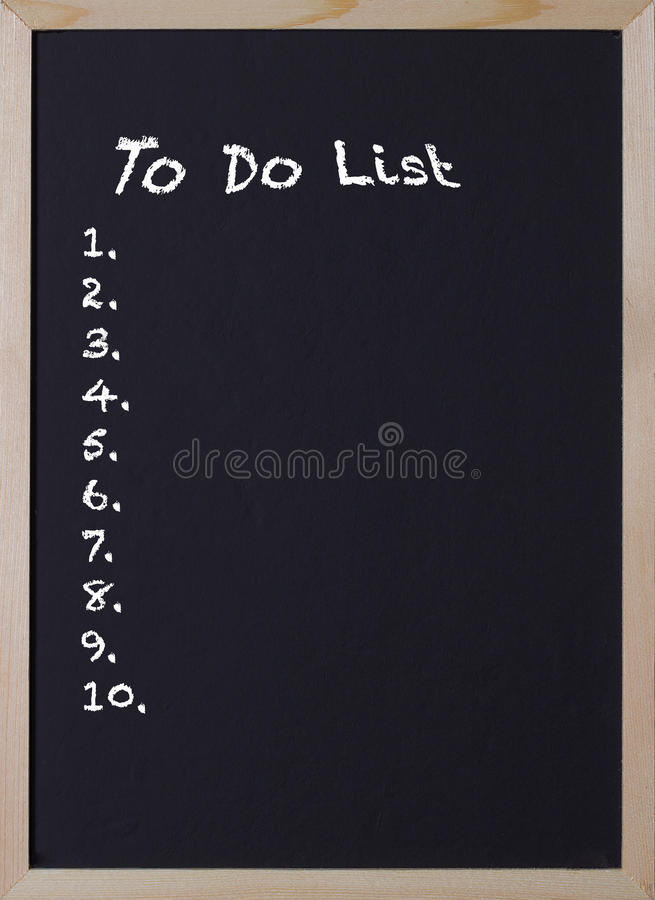 Blackboard with an item to do list. For ten items stock image