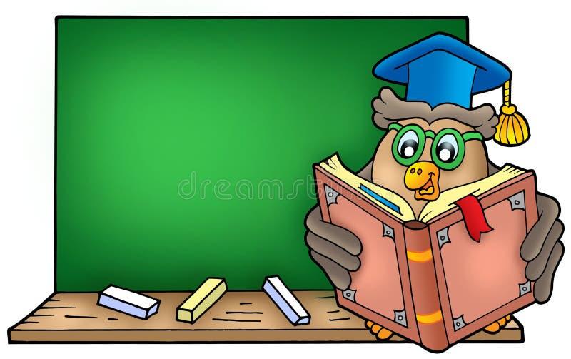 blackboard książkowej sowy czytelniczy nauczyciel ilustracja wektor