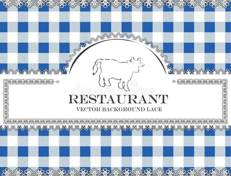 Blackboard lace menu restaurant cow bull stock illustration