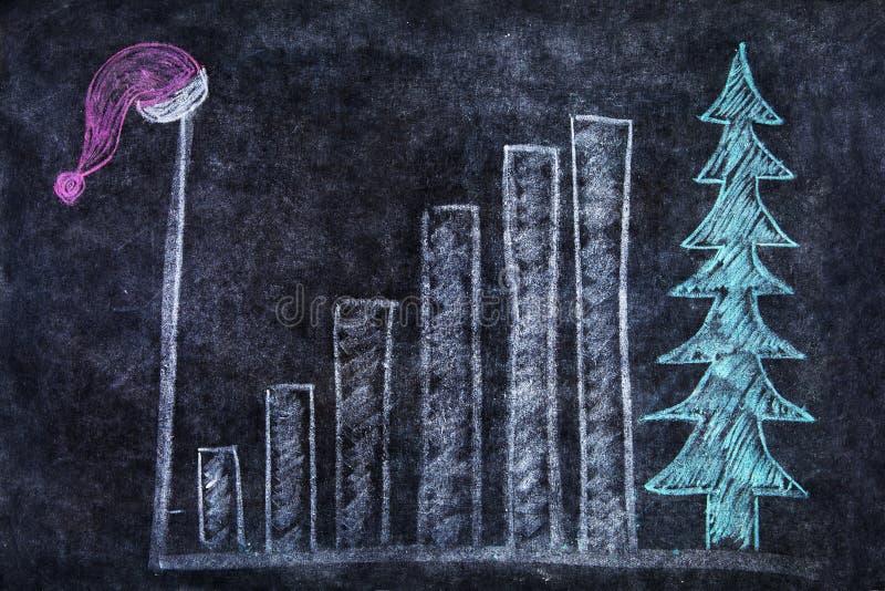 Download Blackboard Med Stångdiagrammet Och Den Santa Hatten Stock Illustrationer - Illustration av krita, finans: 27287243