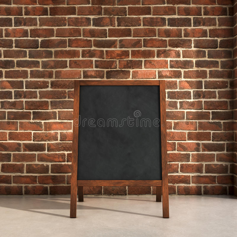 Blackboard menu. Inside a room 3d illustration vector illustration