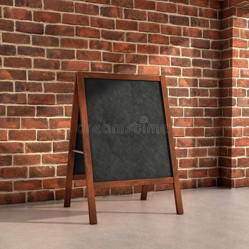 Blackboard menu. Inside a room 3d illustration royalty free illustration