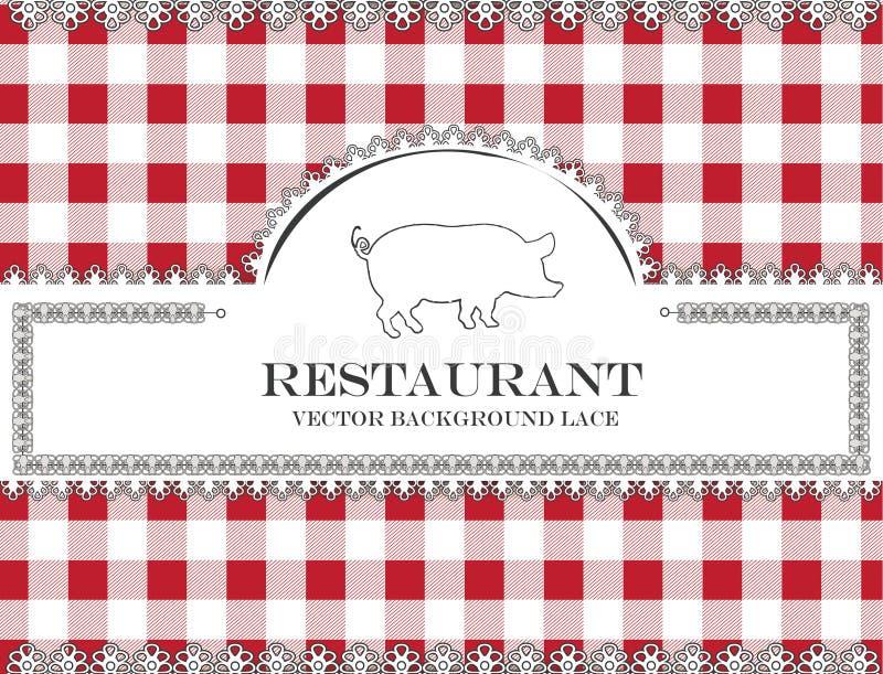 Blackboard menu restauraci koronkowa świnia ilustracja wektor