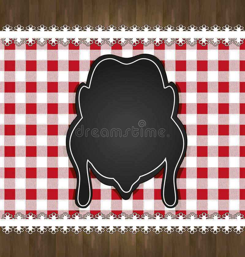 Blackboard menu tablecloth lace chicken vector illustration