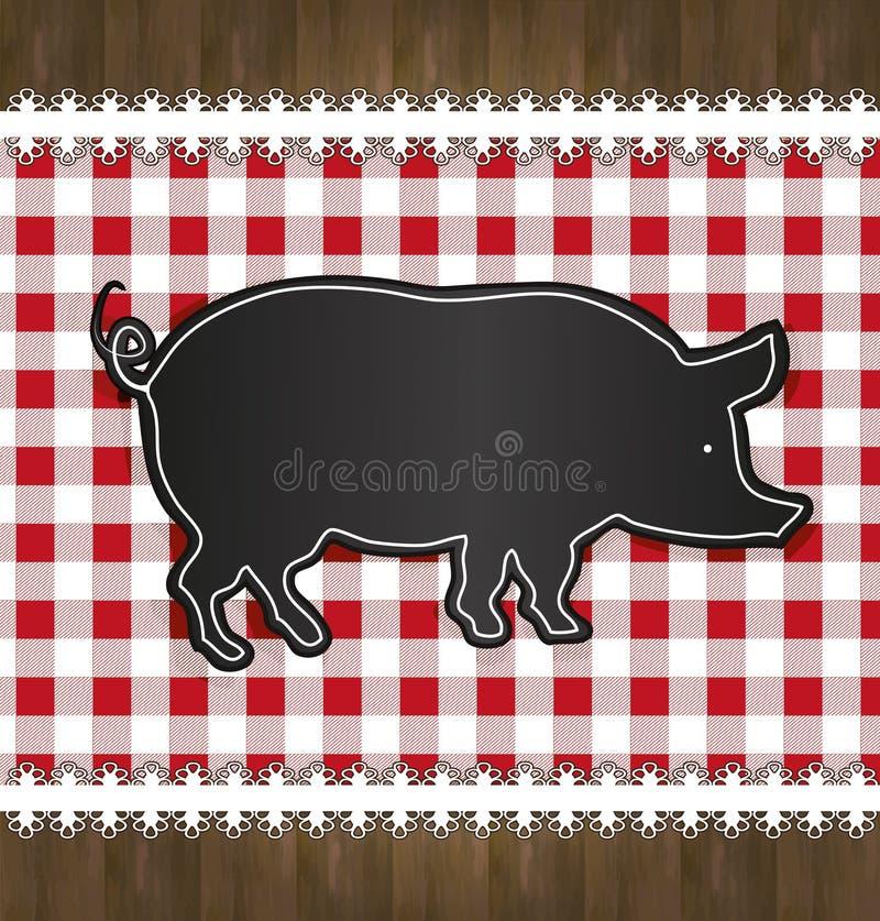 Blackboard menu tablecloth lace pig vector illustration