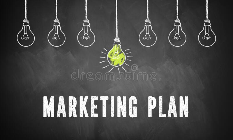 Blackboard with message MARKETING PLAN and drawn lightbulbs. Message MARKETING PLAN and drawn lightbulbs on blackboard stock photography