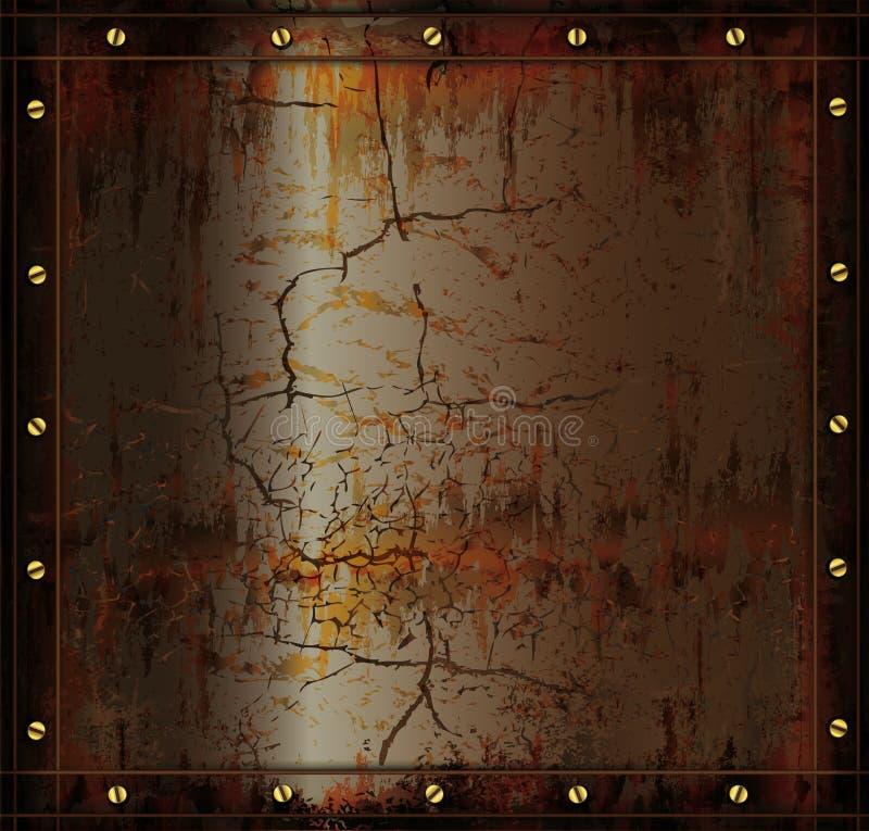 blackboard metal rusty cuprum texture stock illustration