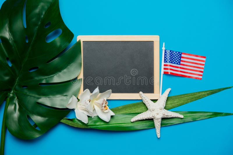 Blackboard and palm leaf with starfish, US flag. Objects isolated on blue background royalty free stock images