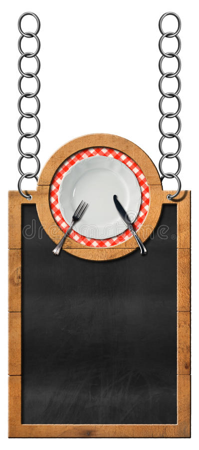 Blackboard with plate and cutlery - Food Template. Empty blackboard with wooden frame and white plate with cutlery, hanging from a metal chain and isolated on stock illustration