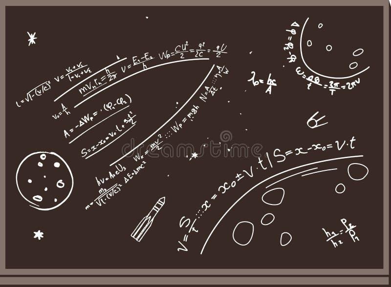 blackboard Postacie z kredą przestrzeń formuły Planety, rakiety brązowy linii abstrakcyjne tła zdjęcie ilustracja wektor
