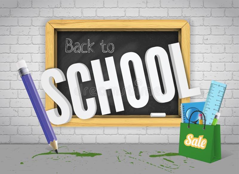 Blackboard powitania z powrotem z ołówkowymi i kolorowymi nauk dostawami na ściana z cegieł sztandaru pojęciu z atramentem bryzga ilustracji